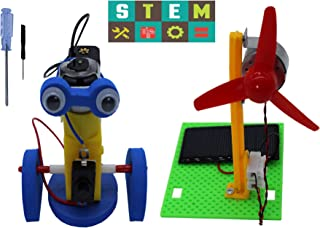 Science Kits,Educational STEM Products,2 Set Building DIY Lab Kits for Kids-Walking Robot,Solar Powered Panel Fan,Assembly Science Experiments andEngineering Kits for Boys and Girls.