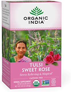 Organic India Tulsi Sweet Rose Herbal Tea - Stress Relieving & Magical, Immune Support, Adaptogen, Vegan, Gluten-Free, USD...