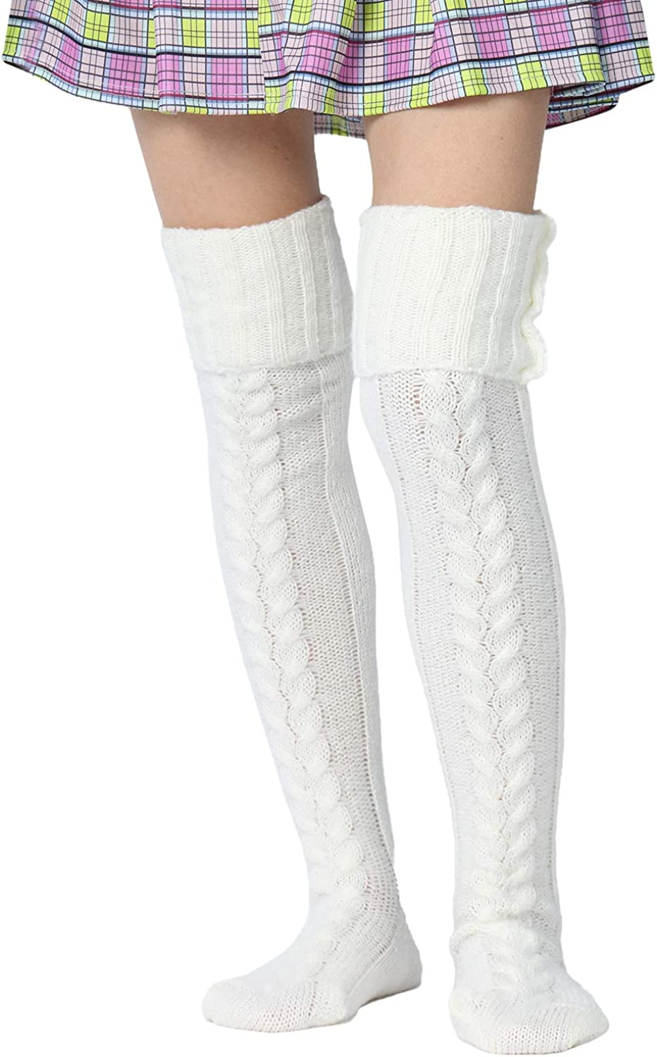 Women Knit Long Socks Cable Knit Thigh Over Knee High Boot Leg Tube Stockings Leg Warmers