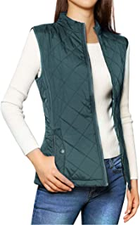 Allegra K Women's Zip Up Front Stand Collar Slant Pockets Quilted Padded Vest S Forest Green