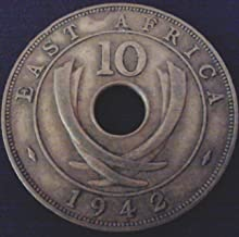 UK/EAST BRITISH AFRICA 1942 - 10 CENTS, LARGE HOLED WWII COIN.