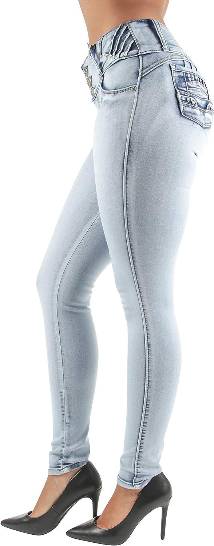 Women Juniors/Plus Size Colombian Design Butt Lift Mid Waist Skinny Jeans (36)