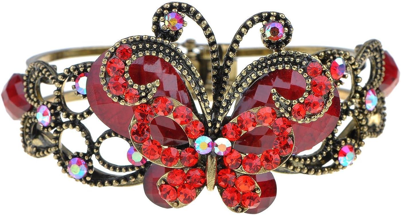 Alilang Womens Vintage Ruby Red Crystal Rhinestone Wedding Prom Bride Retro Cuff Bangle Bracelet