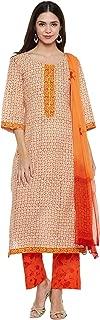 Women's Readymade Orange Pure Cotton Indian/Pakistani Salwar Kameez Dupatta