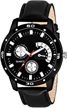 Maa Creation Formal Black Leather Analog Watch for Men & Boy
