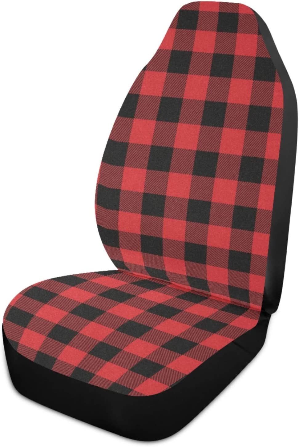 Qilmy Red Buffalo Plaid Car Seat Covers Universal Non-Slip Car Seat Cover Breathable Stain Resistant Seats Covers for Cars