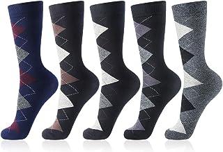 Men's Dress Socks Cotton Dress Socks for Men 5 Pack Fashion Argyle Patterned Style Socks & Striped Business Comfy Socks