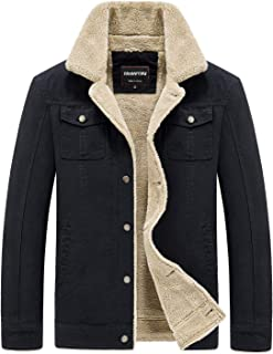 HOW'ON Men's Cotton Warm Fur Collar Casual Button Military Cargo Jacket Outwear Parka Winter Quilted Coat