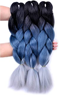 Jumbo Braiding Hair Ombre 3pcs (Black/ Grey Blue/Silver Grey) Jumbo Braid Hair Extension..