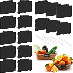 Meetory 16 Pack Basket Bin Labels Clip on, Storage Basket Label Holders with 4 White Chalk Markers, Kitchen Pantry Clip Labels,Hanging Bin Clip Labels, Tag Chalkboard Labels for Removable(Two Shapes)