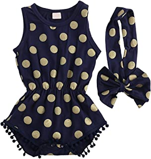 Slinkaslp Newborn Baby Girl Polka Dot Bodysuit Tassel Romper + Elasitc Bowknot Headband