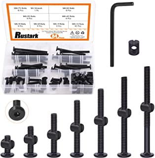 Rustark 84 Pcs M6 x 15mm/ 25mm/35mm/45mm/ 55mm/65mm/ 75mm Black Hex Socket Cap Bolts Barrel Nuts Assortment Kit with One F...