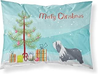 Caroline's Treasures Bearded Collie Dog Merry Christmas Tree Fabric Standard Pillowcase BB2935PILLOWCASE,