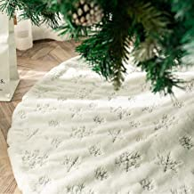 DegGod Plush Christmas Tree Skirts, Luxury Snowy White Faux Fur Xmas Tree Base Cover Mat with Sequin Snowflakes for Xmas N...