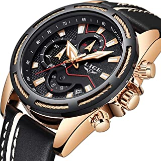 Mens Watches Sports Waterproof Analog Quartz Watch Luxury Brand LIGE Fashion Military Watch Gold Black Date Chronograph
