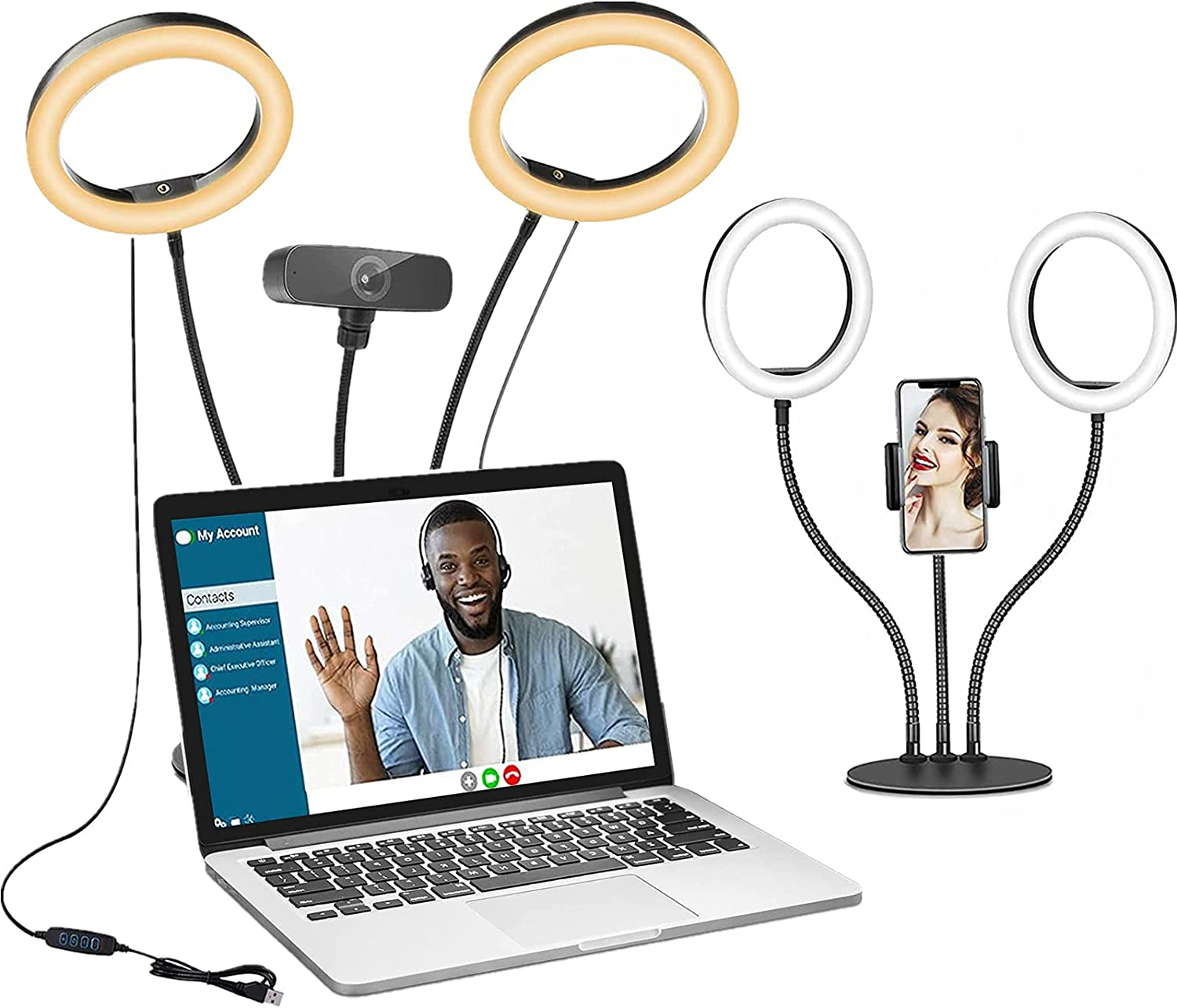 Computer Selfie Ring Light for Video Conference Recording, Dual 8'' Desktop Circle Light with Phone Holder for Laptop Webcam Lighting, Photo, Makeup, Zoom Meeting, Video Call, YouTube, TiKtok