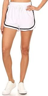 Missy 女式休闲锻炼跑步抽绳侧条纹高腰瑜伽短裤