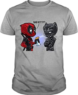 AUTSTORE Black Panther Vs. Deadpool T Shirt, Bad Kitty T Shirts