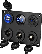 Linkstyle 12V Cigarette Socket Panel, 3-Socket Cigarette Lighter Splitter & 12V 4.2A Dual USB Car Socket & LED Lighted ON Off Rocker Toggle Switch Panel with LED Voltmeter for Truck Car Marine Boat RV