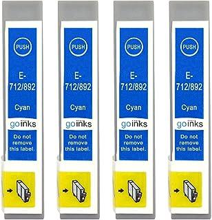 Go Inks E 712 Kompatible Cyan Tintenpatrone als Ersatz für Epson T0712 zur Verwendung mit Epson Stylus Druckern (4 Stück)