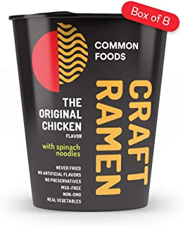 Common Foods Craft Ramen Instant Noodle The Original Chicken Flavor - Spinach Noodle - Non-GMO - Never Fried (Pack of 8)