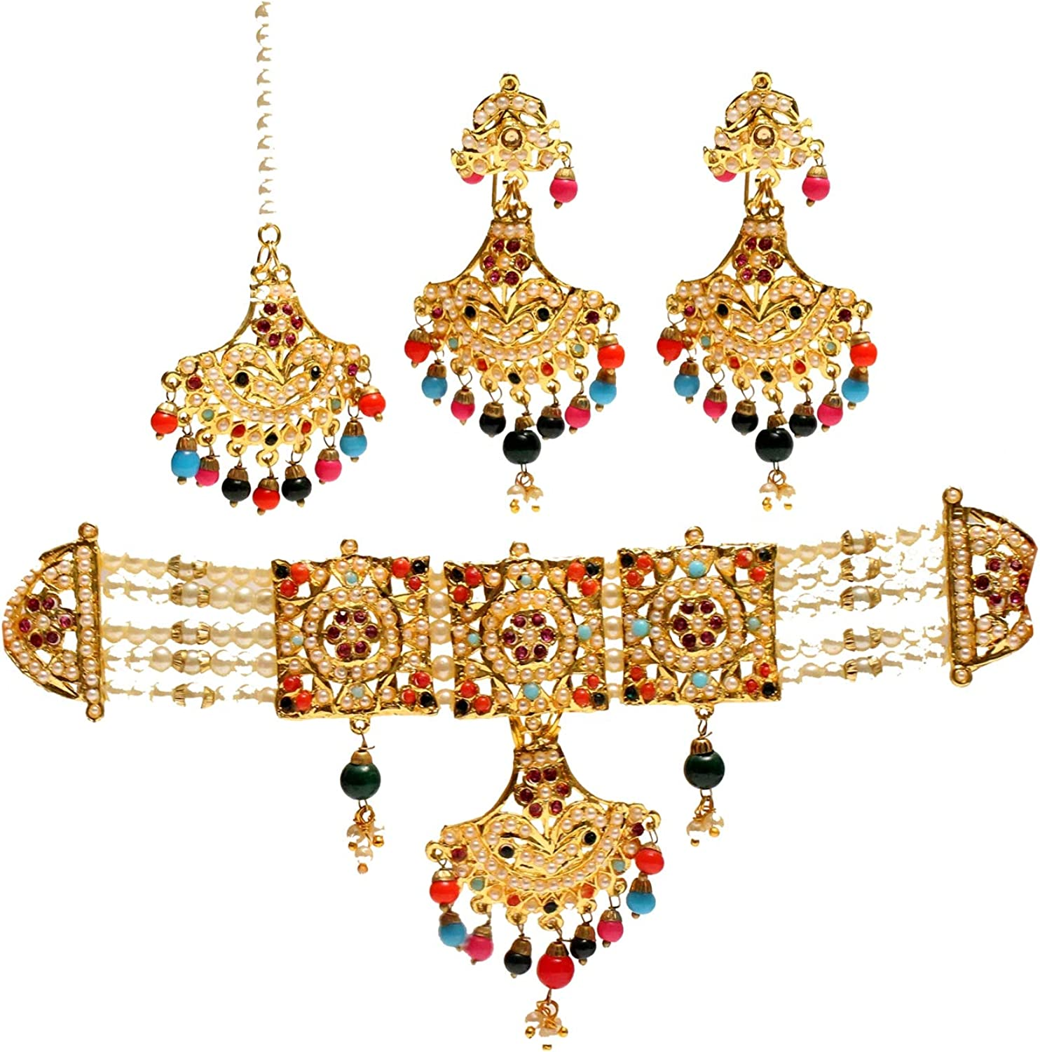 Glamorous Collection Indian Jewelry Choker Multi Color Jadau Necklace Set Indian Muslim Pearl Necklace Muslim Punjabi Jewelry Set