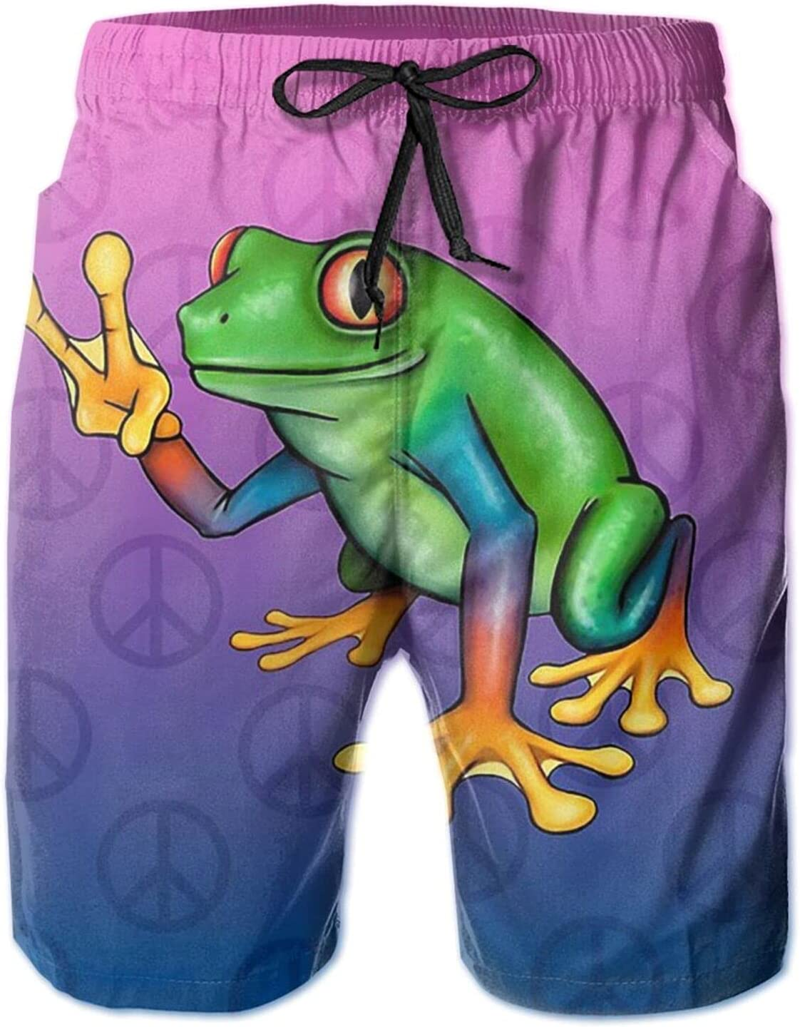 Frog with Rainbow Peace Symbol Sign Mens 3D Printed Swim Trunks Quick Dry Summer Surf Board Shorts Swimwear Pants