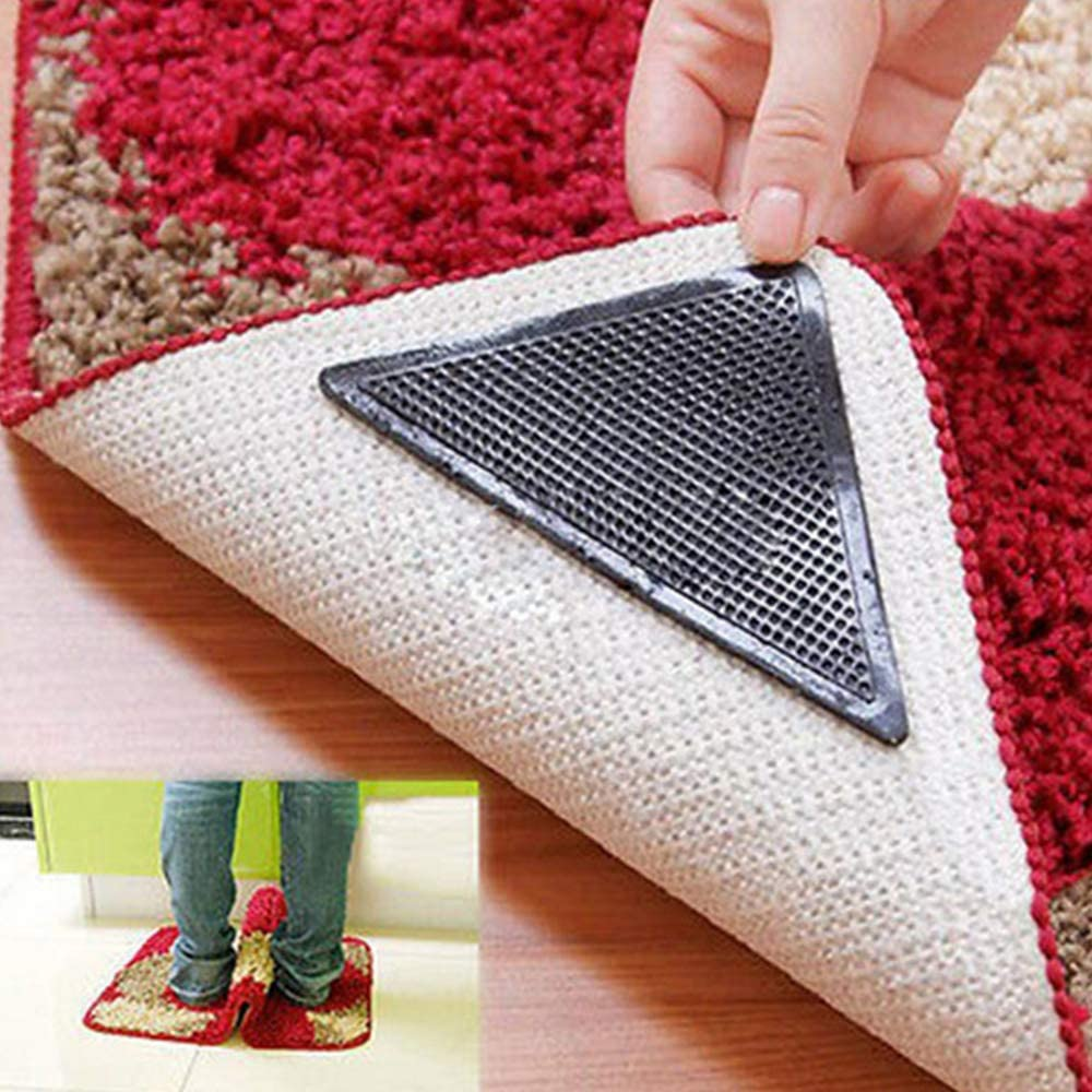 Rug Grippers for Hardwood Floors,Anti Curling Non-Slip with Removable,Washable and Reusable Grippers for Carpets,Mats,Tile Rug 4 Black, 4 pcs