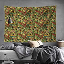 MikiDaHome Mexican Tapestry Wall Hanging Tapestries Cartoon Hand Drawn Style Doodles Latin American Style Colorful Culture Elements Tapestry Art Print Tapestry for Room,63