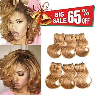 Brazilian Virgin Hair With Closure Cheap Short Hair Extensions 27# Honey blonde Bob Weave Human Hair Body Wave Bunldes With Closure