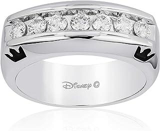 Jewelili Enchanted Disney Fine Jewelry 14K White Gold 3/4 Cttw Mens Ring