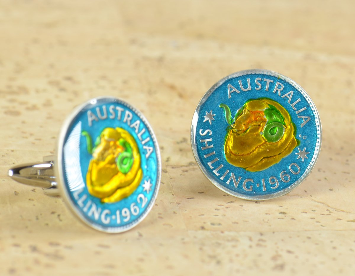 Cufflinks hand painted enamel Limited price Department store coin. Australia Cuff links