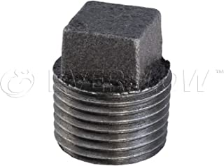 Everflow Supplies BMPL4000 Black Malleable Iron Plug with Square Head, 4