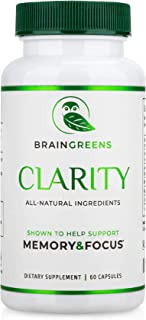 BrainGreens Brain Supplement for Memory and Focus - Nootropic Booster for Mental Clarity - All Natural Ingredients - Gingk...