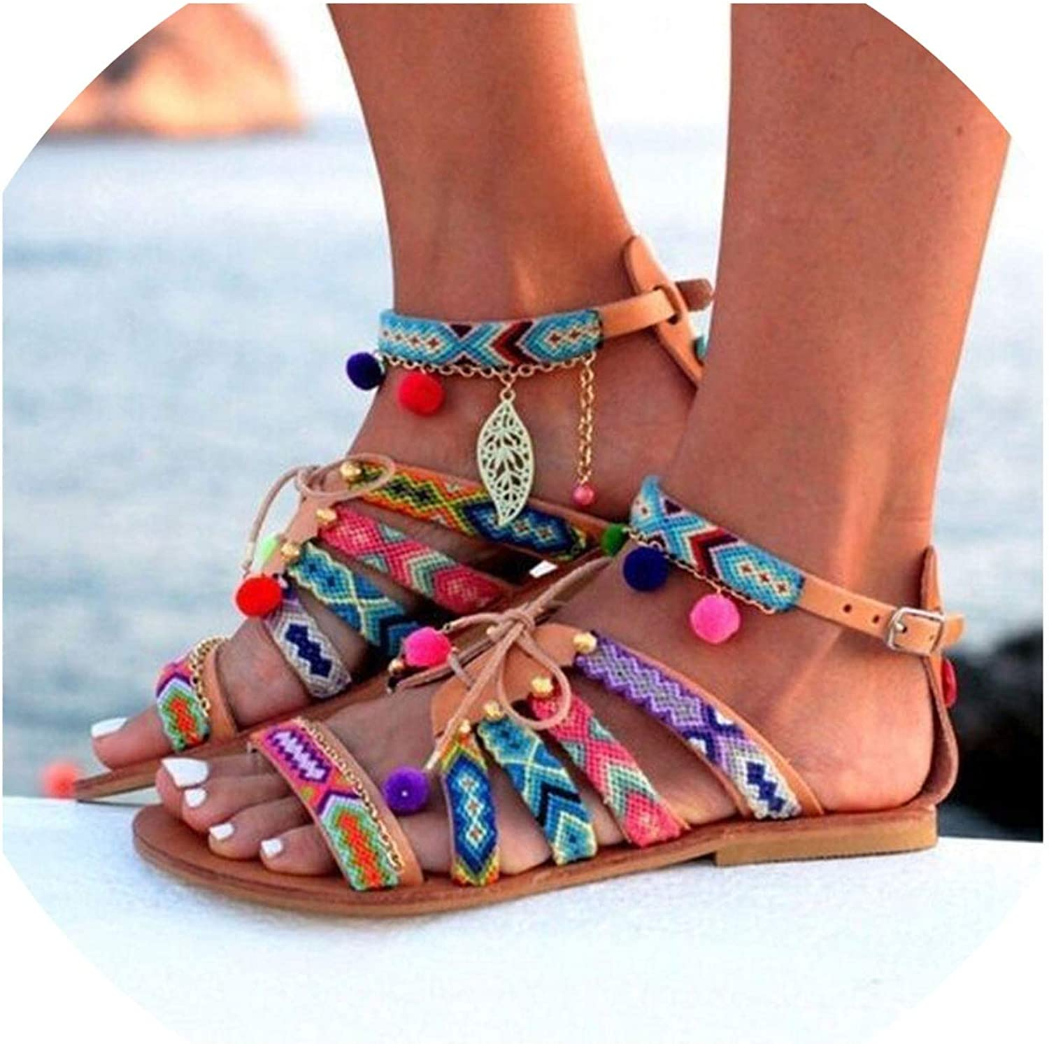 Summer Sandals for Beach Women Bohemia Sandals Gladiator Leather Sandals Flats shoes