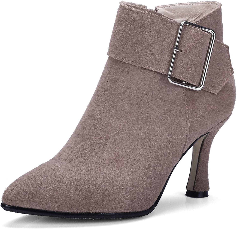 Nine Seven Suede Leather Women's Poinnted Toe Stiletto Heel Comfort Handmade Elegant Ankle High Booties