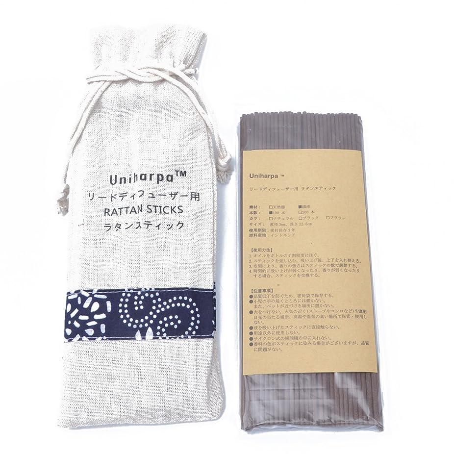 クリエイティブケープネズミリードディフューザー用 ラタンスティック/リードスティック リフィル 繊維素材 22.5cm 直径3mm 100本入 乾燥剤入り オリジナル旅行専用袋付 (ブラウン)