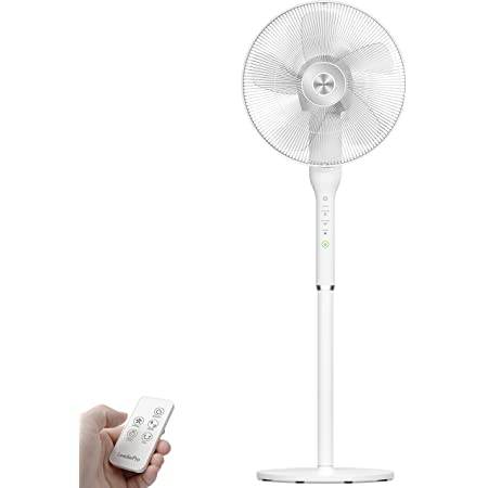 LeaderPro 2 en 1 Ventilateur sur Pied 16 Pouces Ventilateur de Bureau Rotation à 360° Ventilateur Silencieux avec Télécommande Hauteur Réglable & Oscillation Verticale 90° 8H Minuterie, Blanc