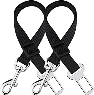 SunGrow Car Seat Belts for Dogs and Cats, Adjustable from 19-inches to 31-inches, Nylon Belt, Support All Cars, 2 Belts pe...