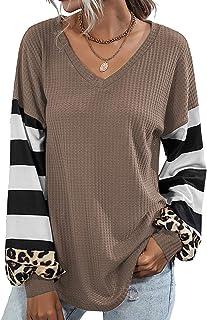 Womens V Neck Tops Long Sleeve Shirts Waffle Knit Blouse...