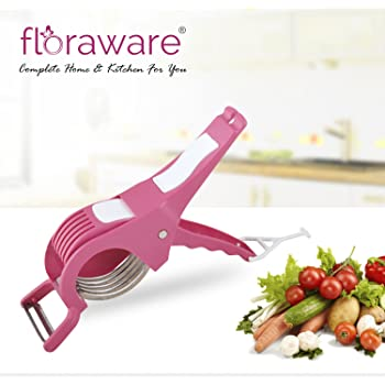 Floraware Veg Cutter Sharp Stainless Steel 5 Blade Vegetable Cutter With Peeler 2 In 1 Pink