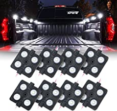 Xprite New Version LED Rock Lights Truck Bed Rail Light 32 LED Side Marker Lighting Kit w/Switch, for RV Boat Cargo Pickup Bed Underbody System White - 8pc