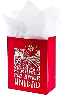 Hallmark VIDA Medium Christmas Gift Bag with Tissue Paper and Spanish lettering (Paz Amor Unidad)