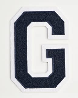 Varsity Letter Patches - Dark Navy Blue Embroidered Chenille Letterman Patch - 4 1/2 inch Iron-On Letter Initials (Navy Blue, Letter G Patch)