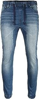 ZIMEGO Men's Vintage Washed Drop Crotch Comfort Stretch Jogger Denim Pants