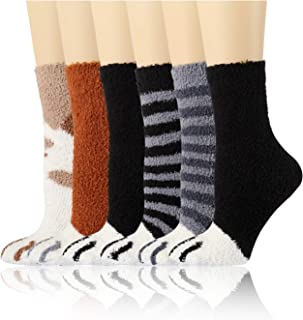 Diravo Fuzzy Cozy Socks Women Fluffy Plush Crew Slipper Sock For Girls Warm for Winter Cozy Gifts 6-12 Pairs