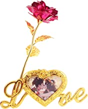 MSA JEWELS 24K Gold Plated Rose with Love Stand Photo Frame & Red Velvet Box for Valentine, Birthday & Decor Gift (30X10X8 cm) (Pink)