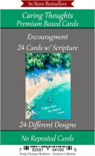 Encouragement Cards (No Repeated Cards) 24 Design Christian / Religious Greeting Card Assortment ~ Scripture in every card