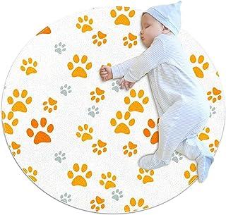 mönster med kattfotavtryck, barn rund matta polyester överkast matta mjuk pedagogisk tvättbar matta barnkammare tipi tält ...