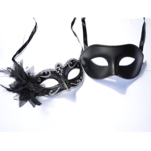 HIS HERS PAIR OF ALL BLACK COUPLES VENETIAN MASQUERADE PARTY EYE MASKS